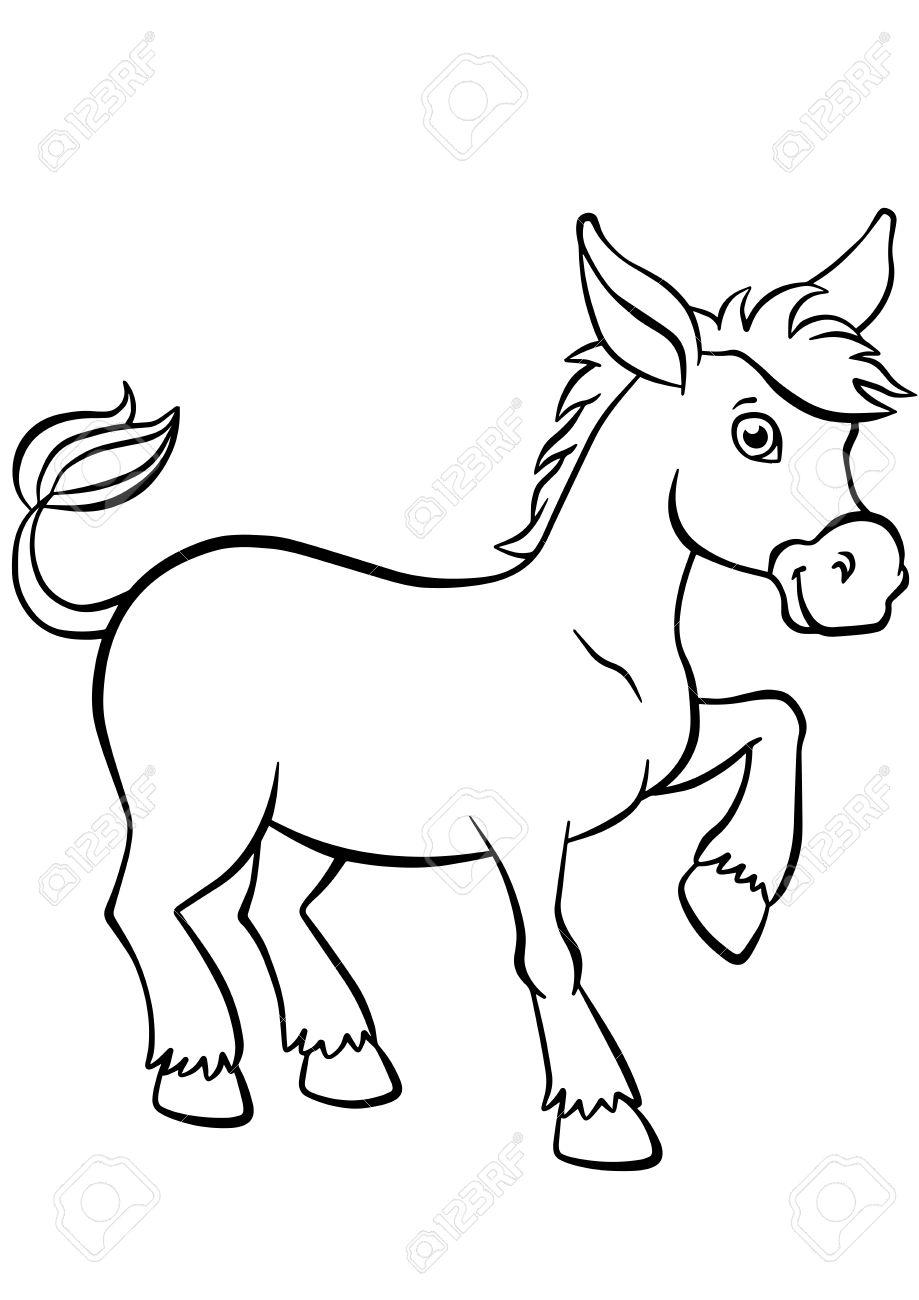 Malvorlagen. Tiere. Kleiner Netter Esel Steht Und Lächelt