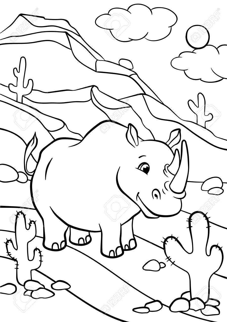 Free Rhino Coloring Page, Download Free Clip Art, Free Clip Art on ... | 1300x919