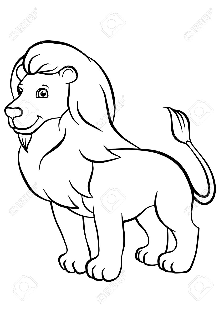 Coloring Pages Animals Cute Lion Stands And Smiles Stock Vector