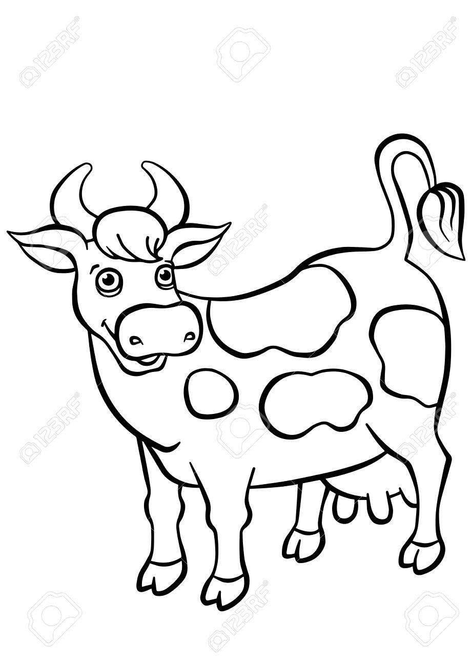 Coloring Pages. Animals. Cute Cow Stands And Smiles. Royalty Free ...
