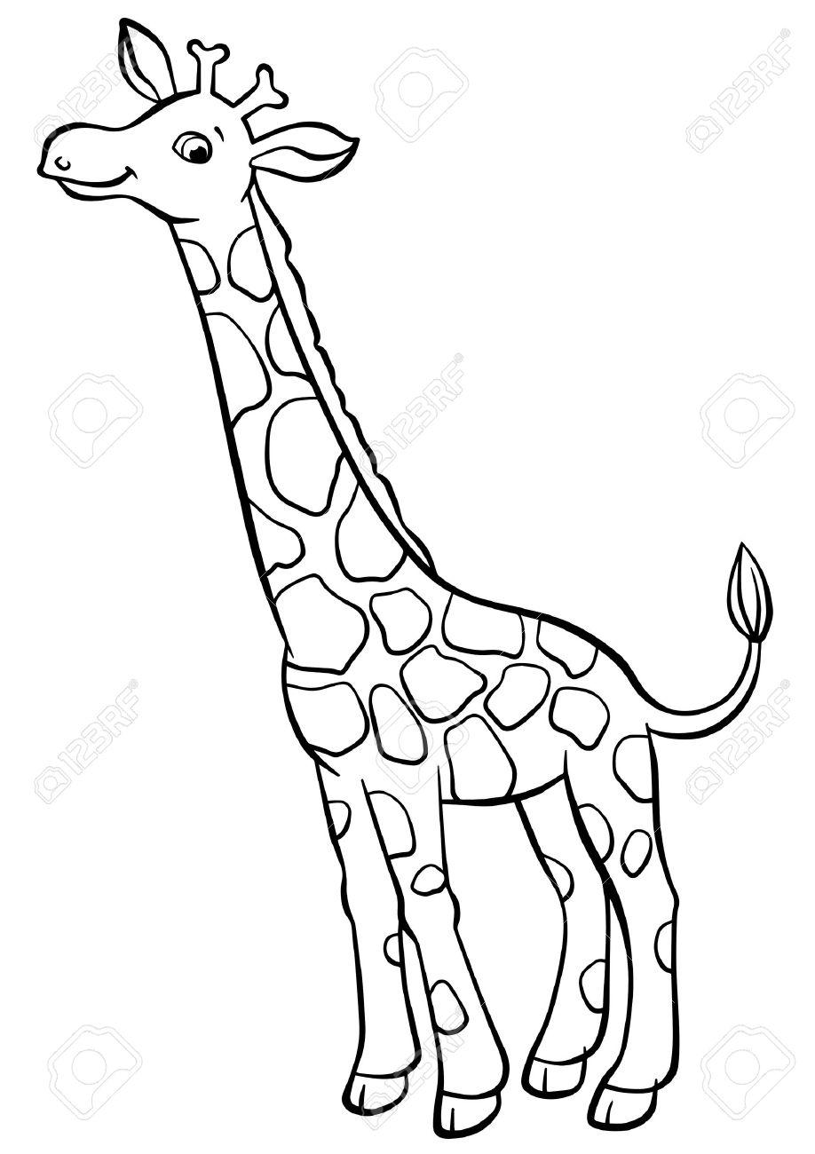 Malvorlagen. Tiere. Kleine Niedliche Giraffe Steht Und Lächelt ...