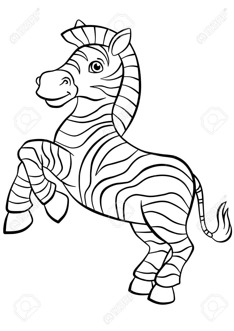 Delightful Coloring Pages. Animals. Little Cute Zebra Stands And Smiles. Stock Vector    56471415