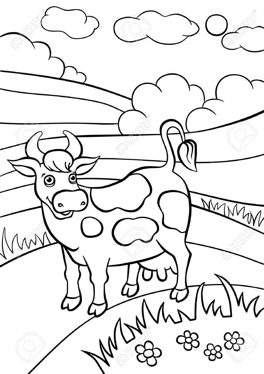 Páginas Para Colorear Animales Vaca Linda Se Coloca En El Campo Y Sonrisas