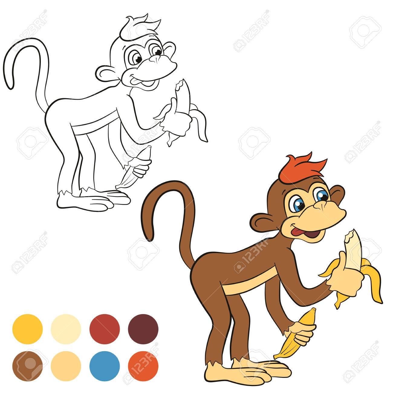 Malvorlage. Color Me: Affe. Kleine Niedliche Affe Steht Und Hält ...