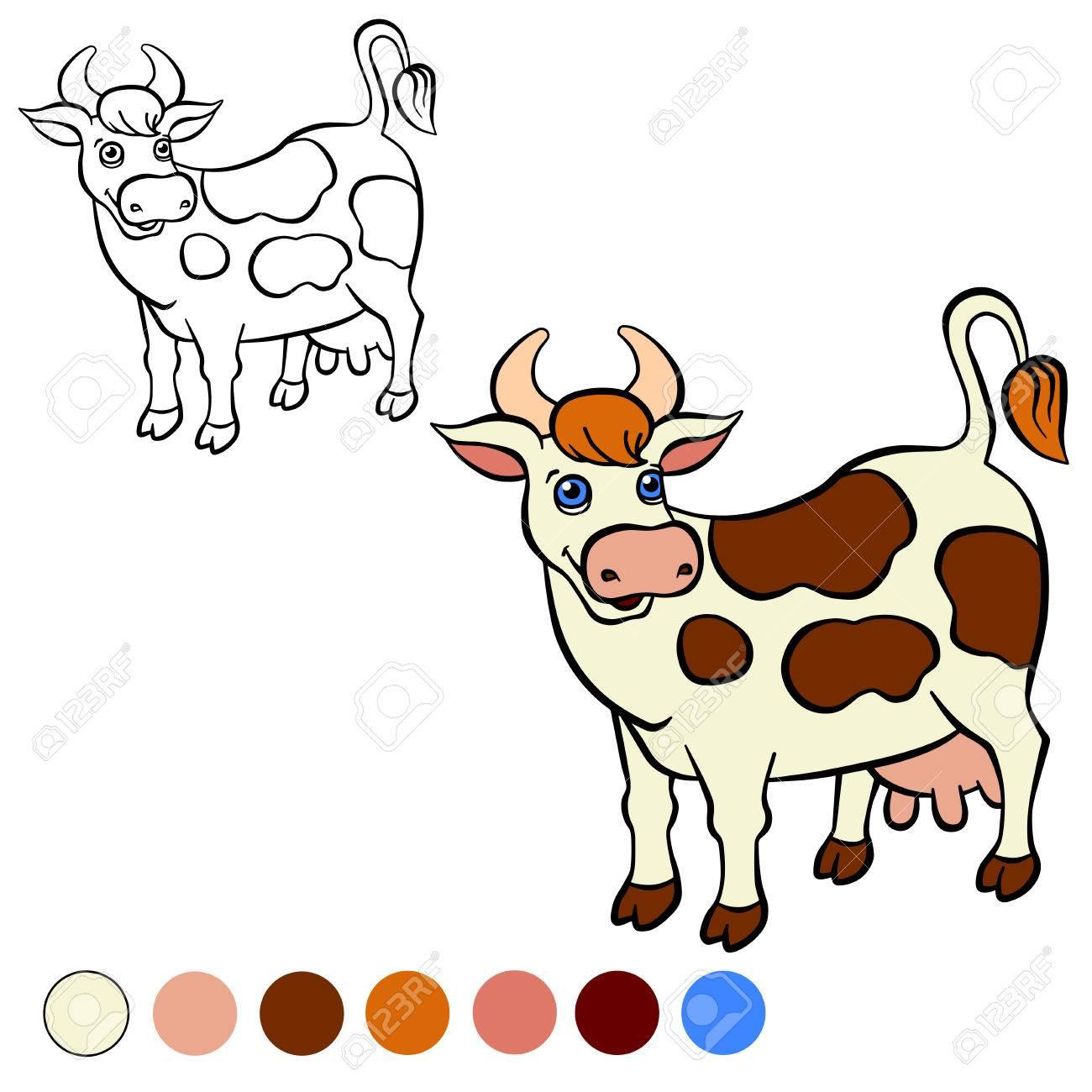 Malvorlage. Color Me: Kuh. Nette Gefleckten Kuh Steht Und Lächelt