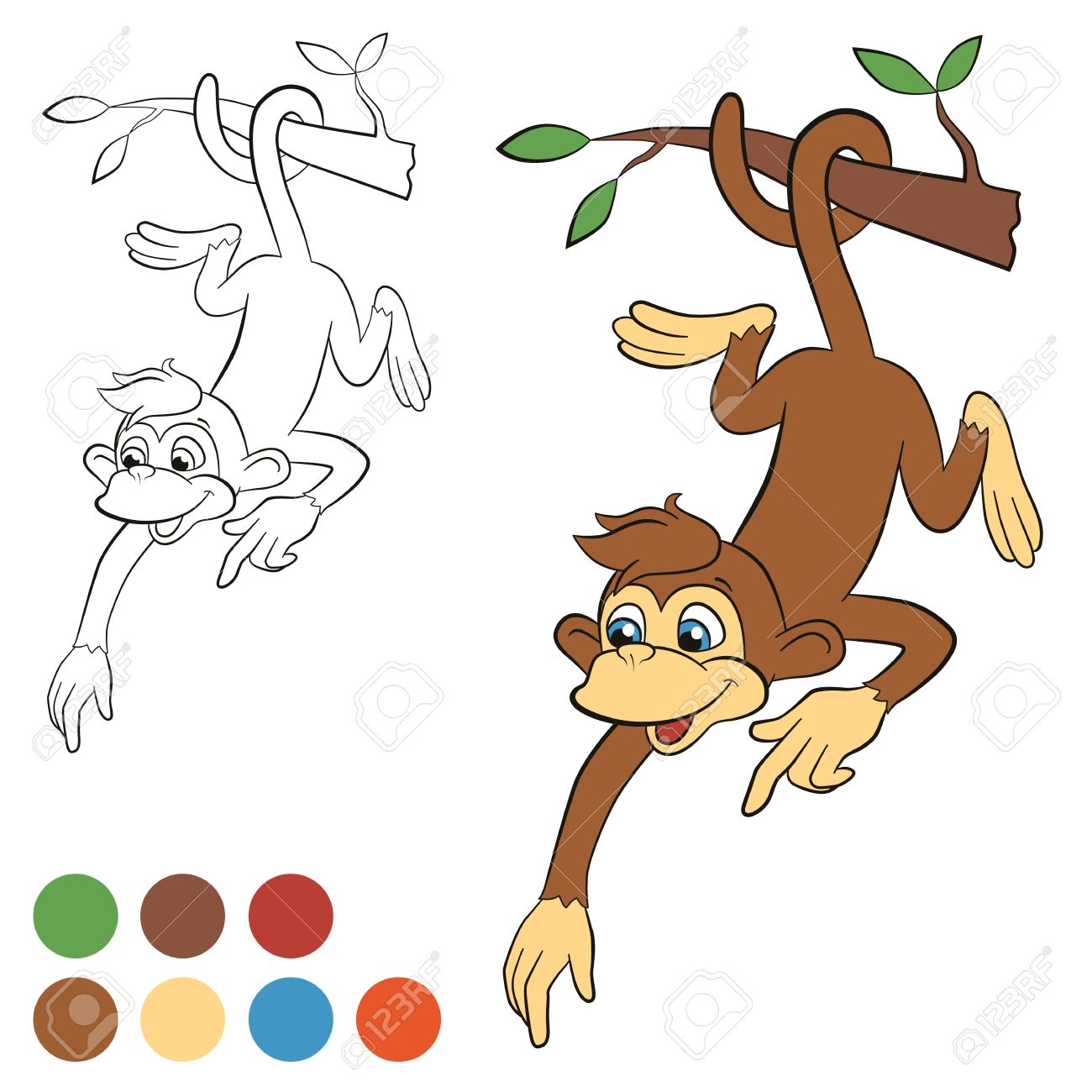 Coloring Page Color Me Monkey Little Cute Hanging On The Tree And