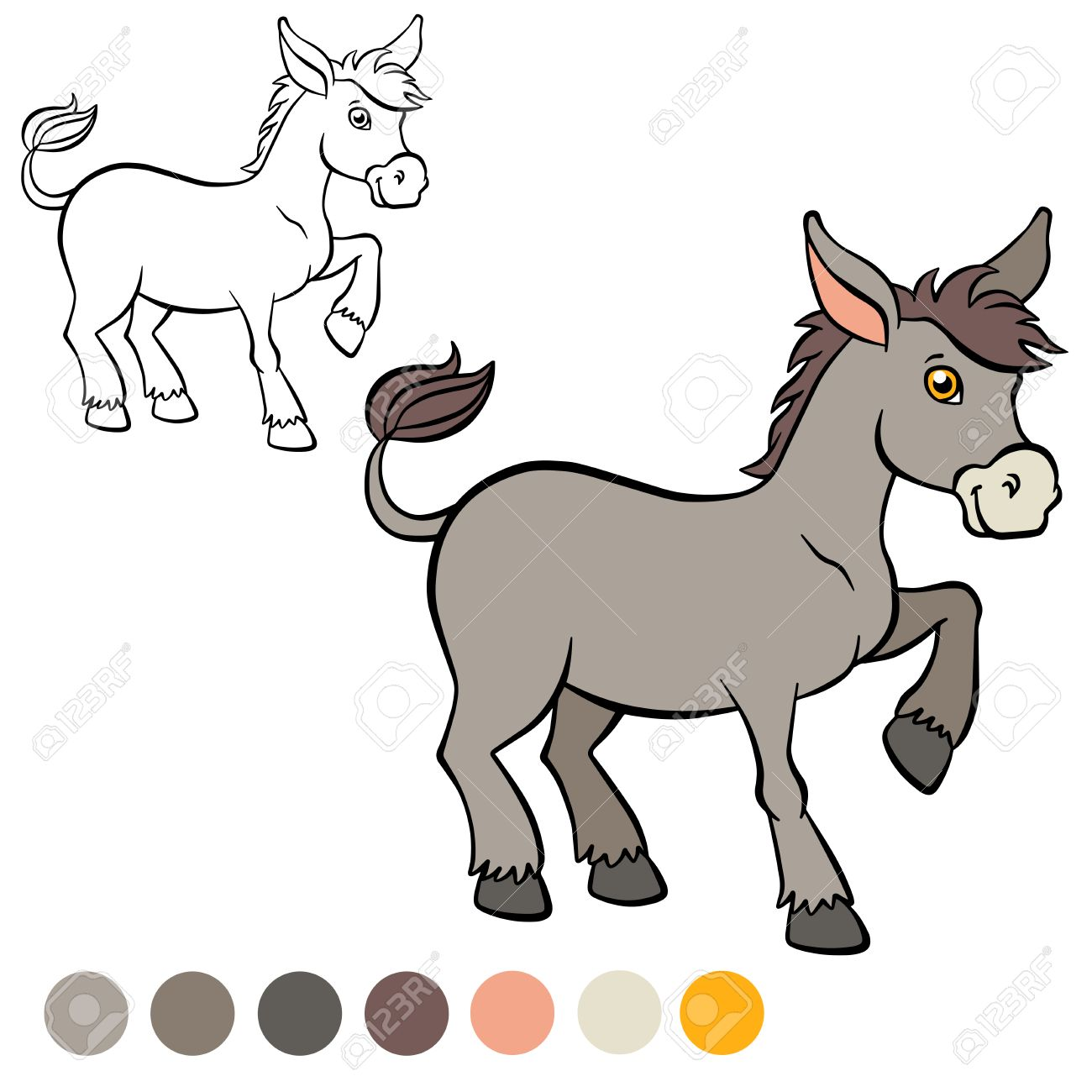 Coloring Page Color Me Donkey Little Cute Stands And Smiles Stock