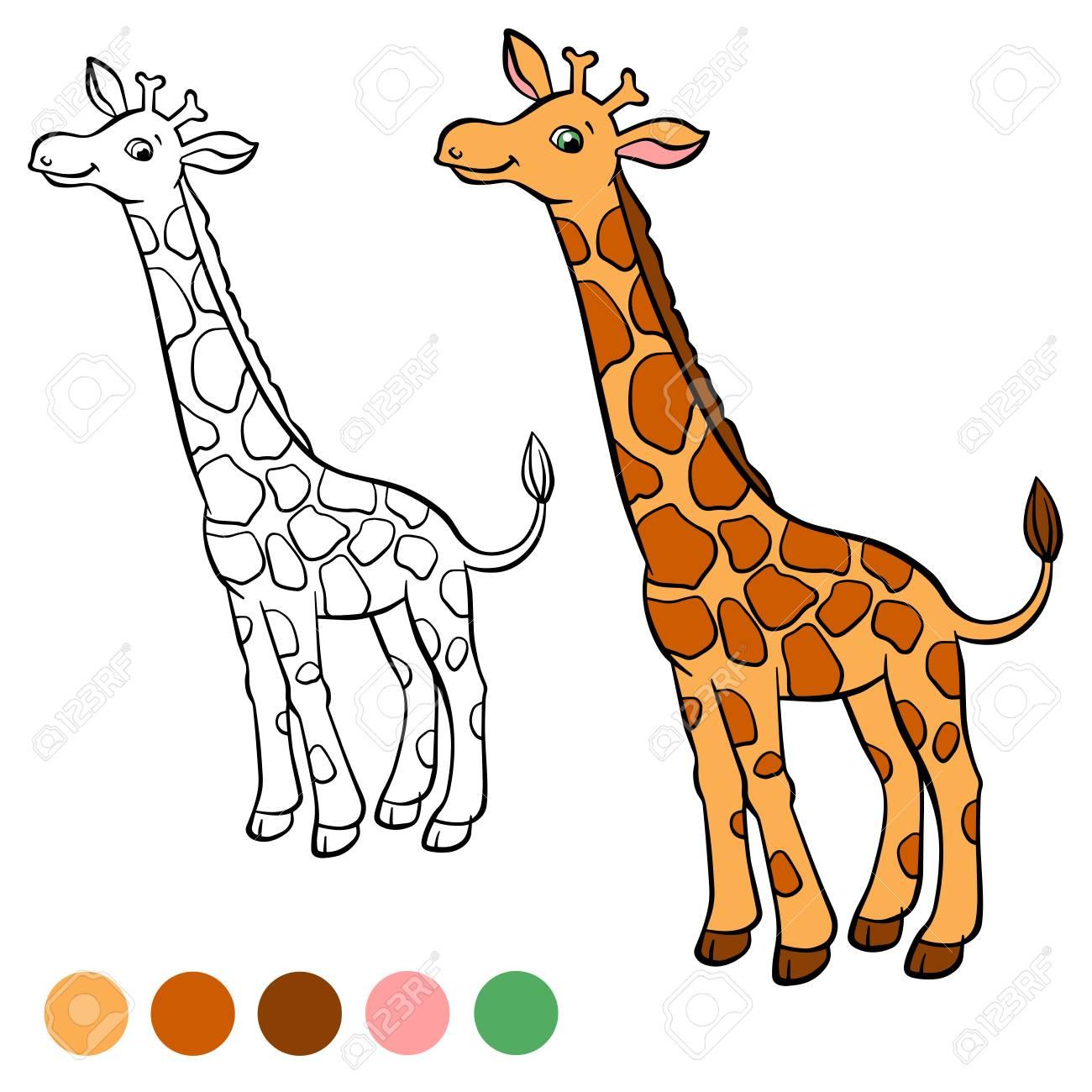 Dibujo Para Colorear Color Me Castor Pequeña Jirafa Linda Se Coloca Y Sonríe