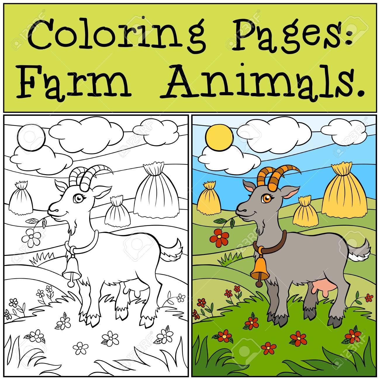 Malvorlagen Tiere Auf Dem Bauernhof Nette Ziege Steht Auf Dem Gras