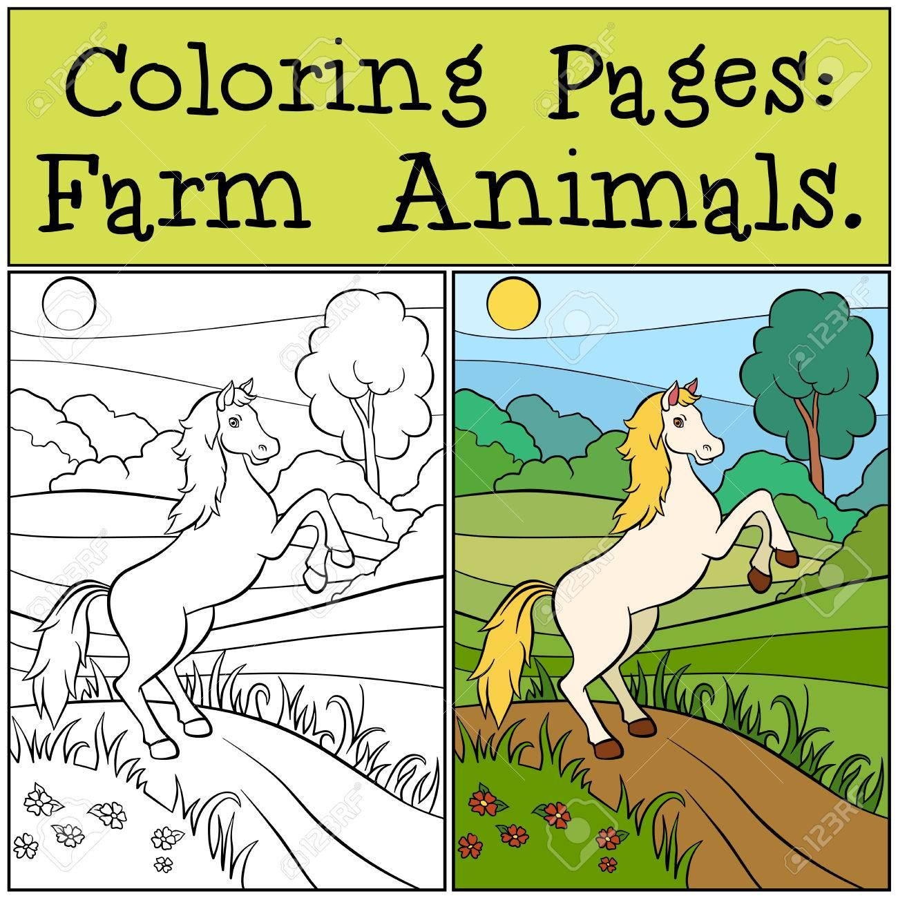 Malvorlagen Tiere Auf Dem Bauernhof Nettes Pferd Lauft Und