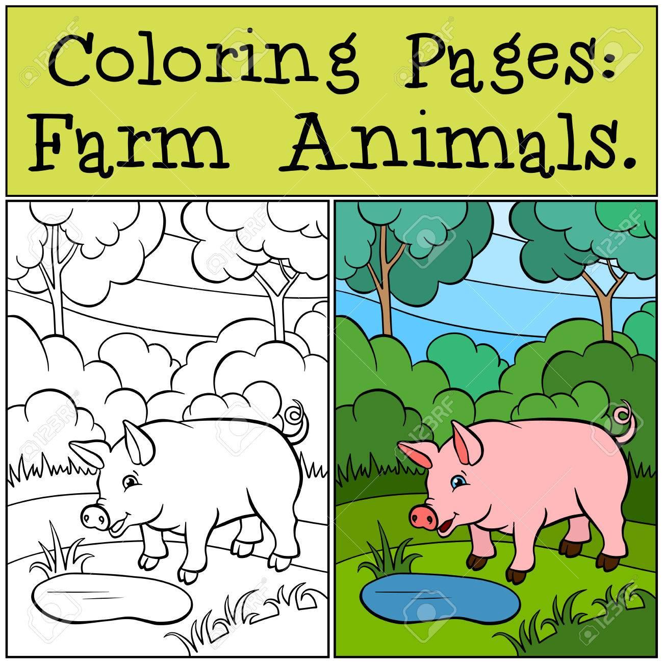Malvorlagen Tiere Auf Dem Bauernhof Kleine Niedliche Schwein Steht