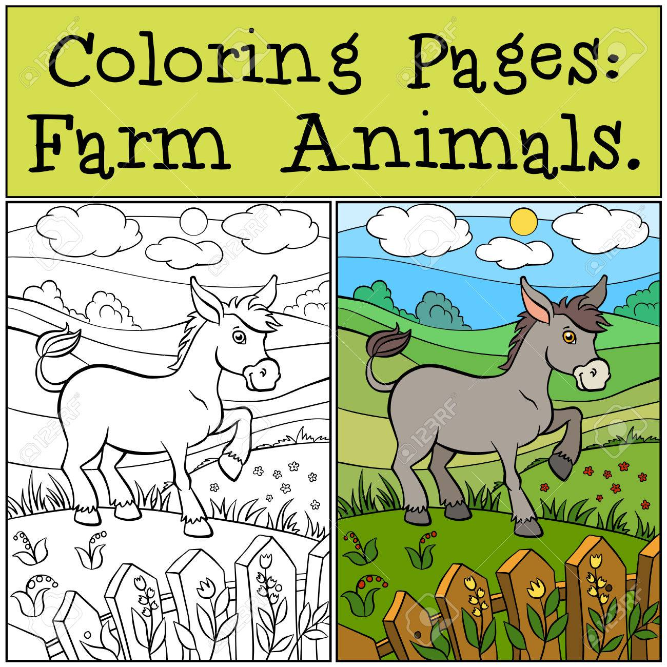 Coloring Pages: Farm Animals. Little Cute Donkey Stands On The ...