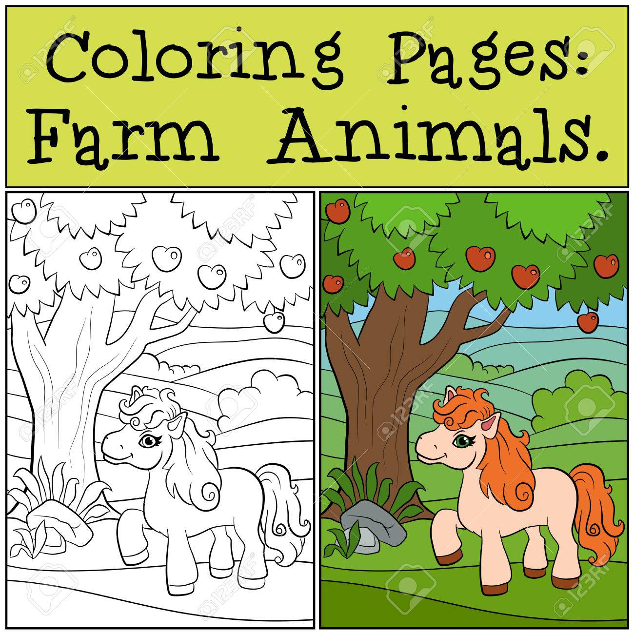 Coloring Pages: Farm Animals. Little Cute Pony Stands Near The ...