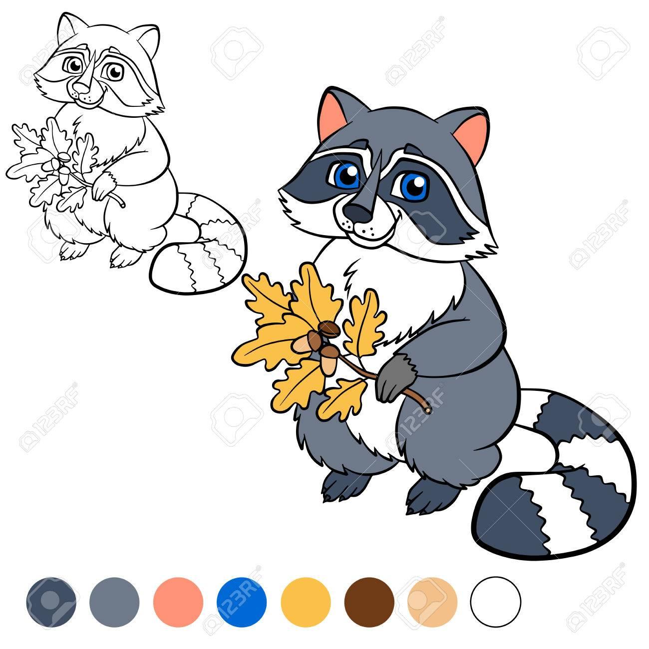 Dibujo Para Colorear Color Me Mapache El Pequeño Mapache Lindo