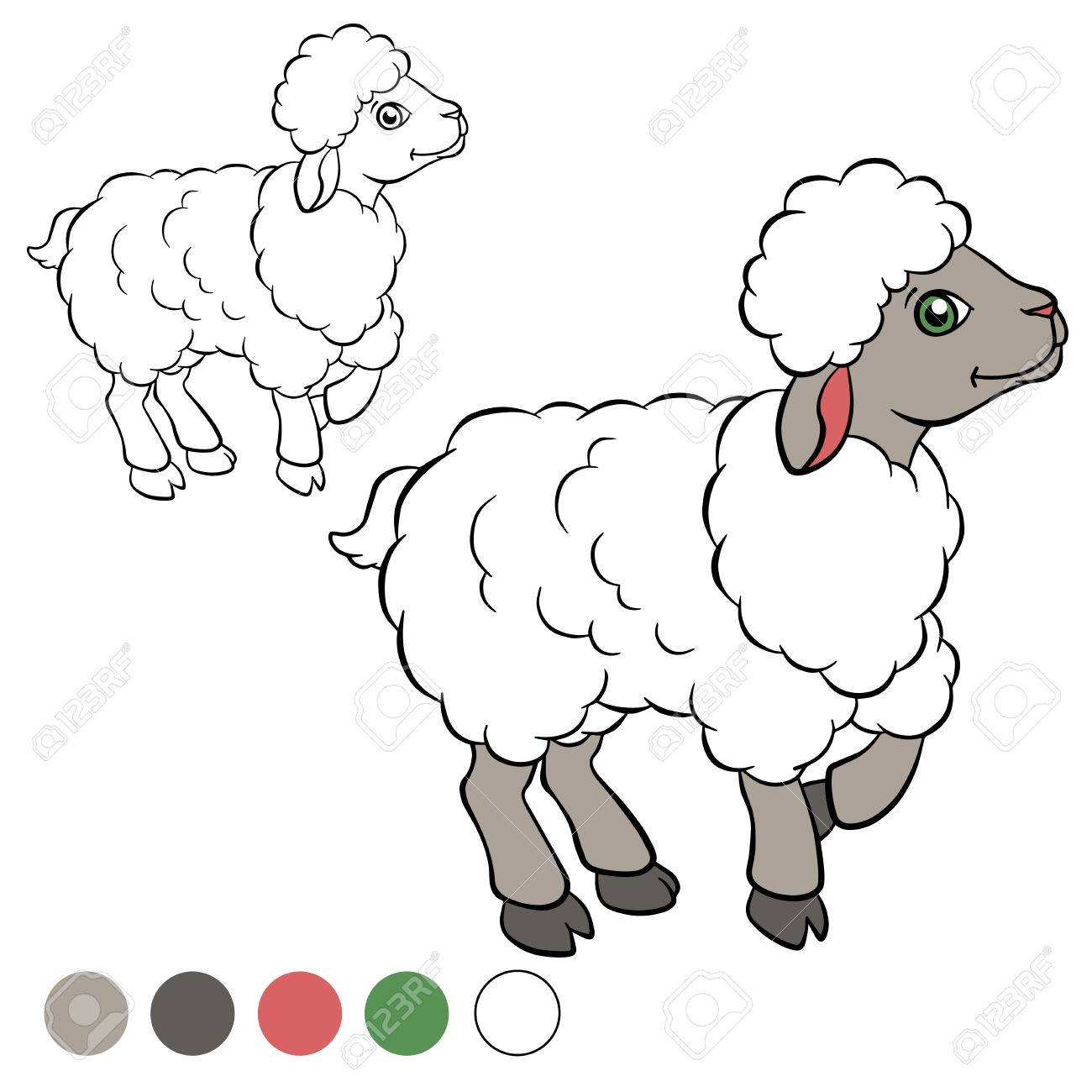Coloring Page. Color Me: Sheep. Little Cute Sheep Stands And ...