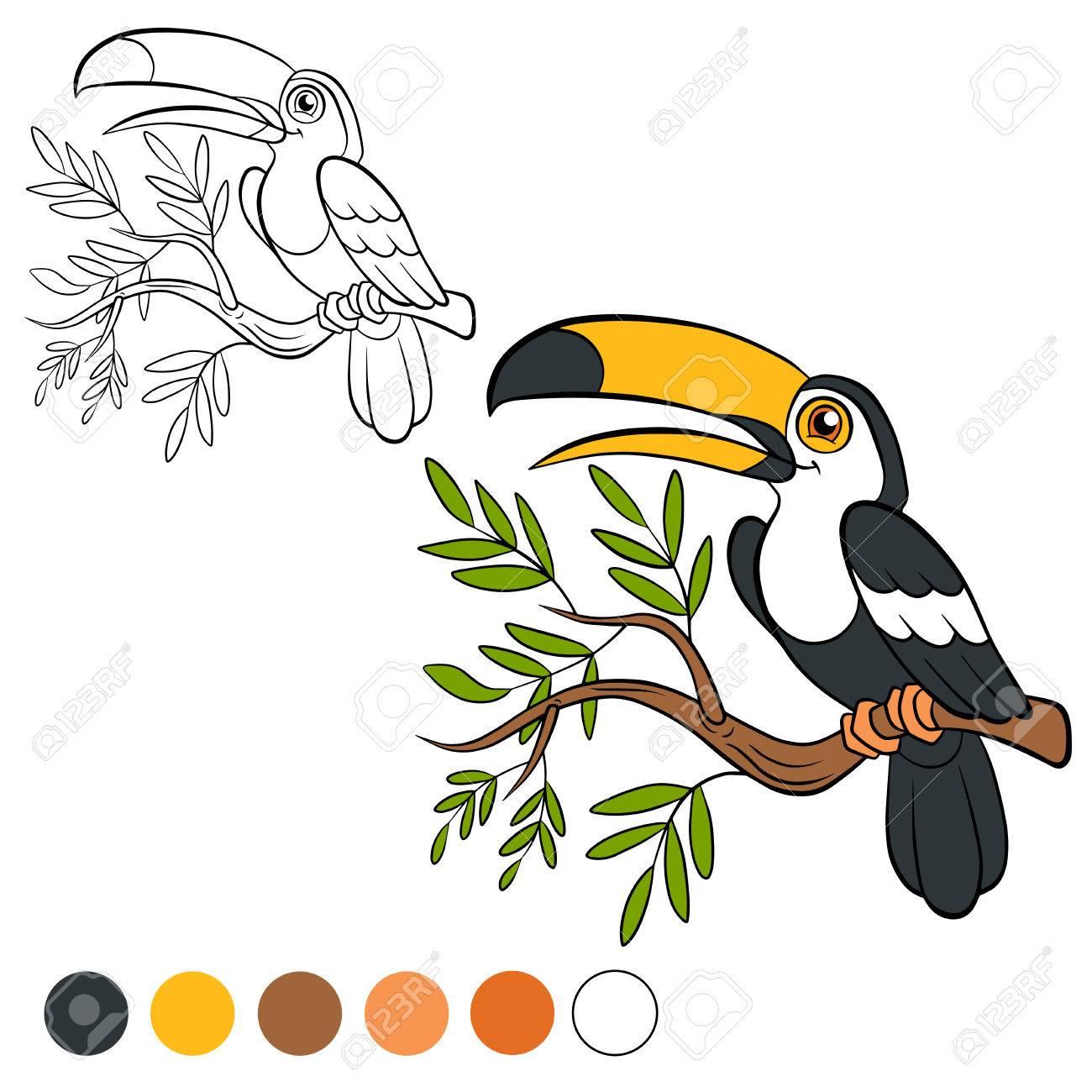 Dibujo Para Colorear Color Me Tucán Poco Tucán Lindo Se Sienta En La Rama De Un árbol Y Sonríe
