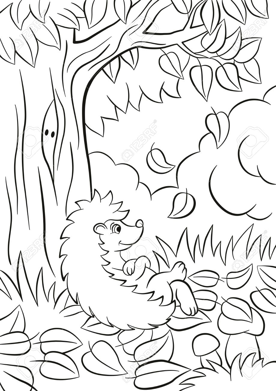 Coloriage Arbre Feuille Qui Tombe.Pages De Coloriages Petit Herisson Gentil Gentil Se Repose Pres De