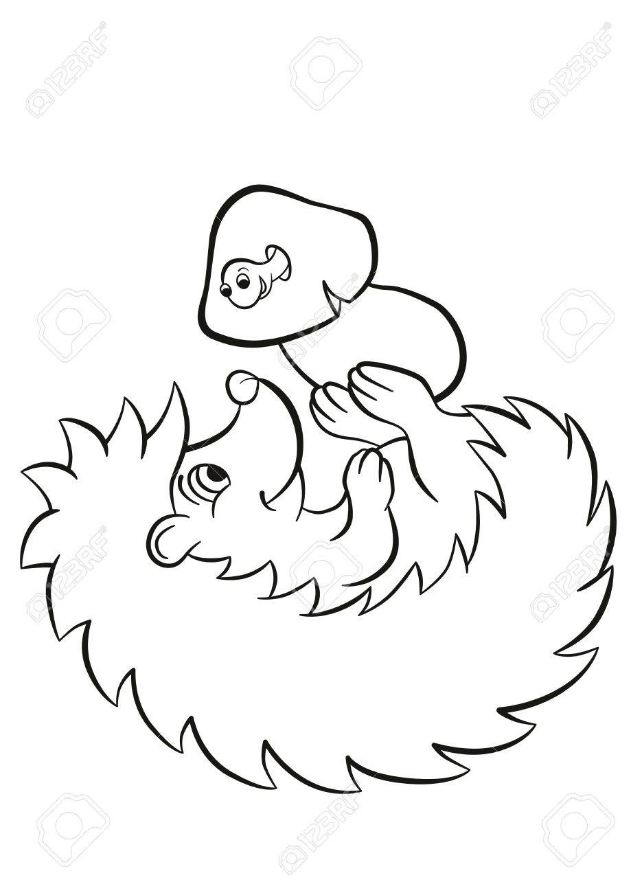coloring pages little cute kind hedgehog lays and holds the