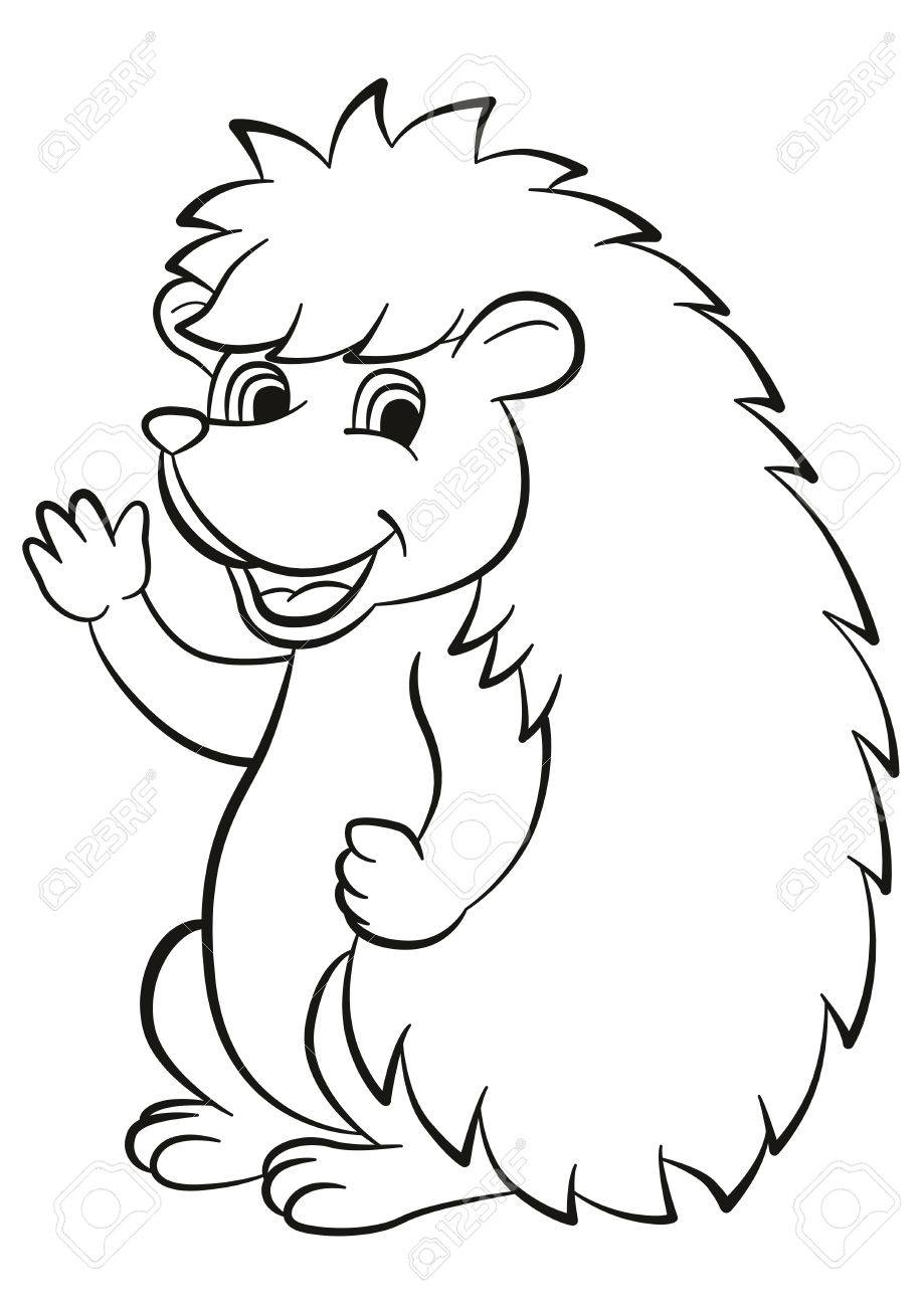 Coloring Pages Little Cute Hedgehog Waves And Smiles He Is