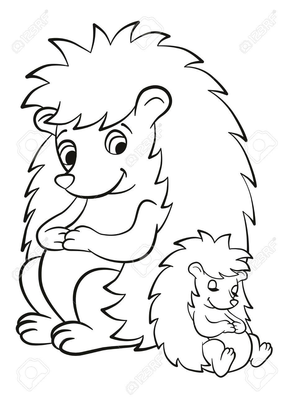 Coloring Pages. The Hedgegoh And The Little Cute Baby Seatl ...