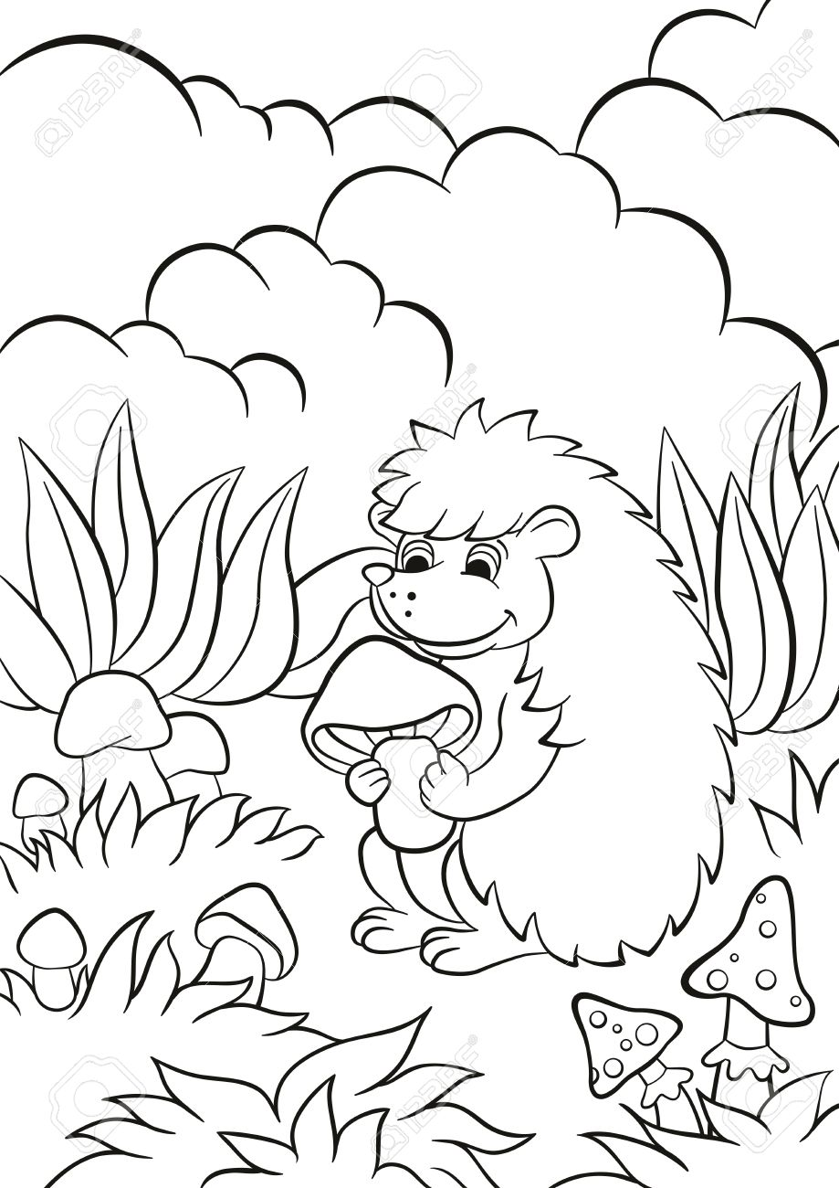Coloring Pages Little Cute Hedgehog Holds The Mushroom In The