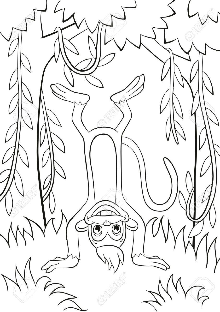 Coloring pages. Little cute monkey is standing udside down and..