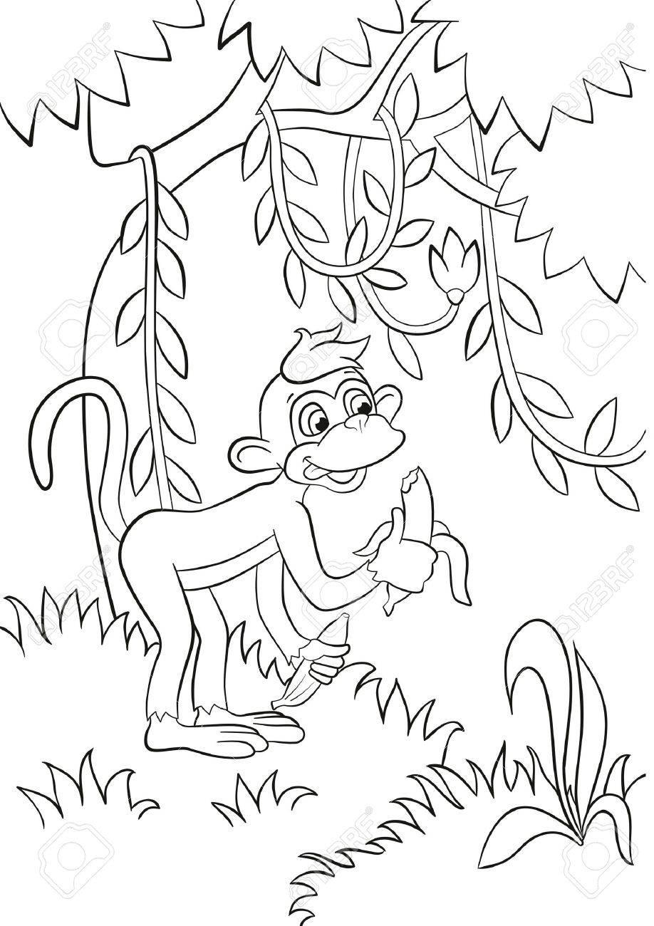 Coloring Pages. Little Cute Monkey Is Eating Banana In The Forest ...