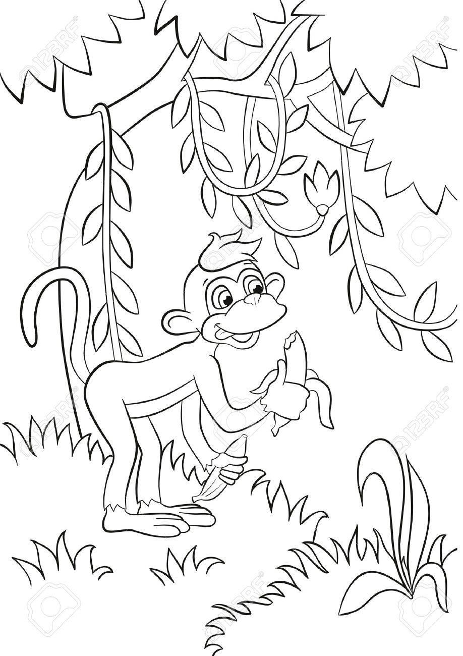 Páginas Para Colorear. Pequeño Mono Lindo Está Comiendo El Plátano ...