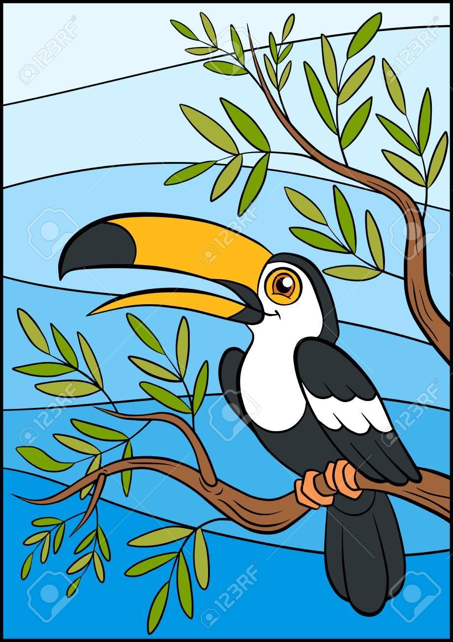 Dibujos Animados De Pájaros Para Niños. Pequeño Tucán Lindo Se ...