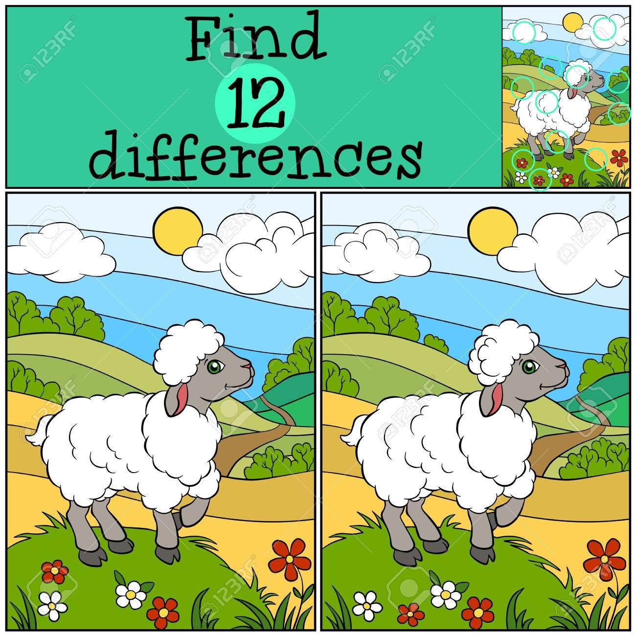 juegos infantiles encuentra las diferencias pequeas ovejas lindo se encuentra en la colina de with infantiles pequeas