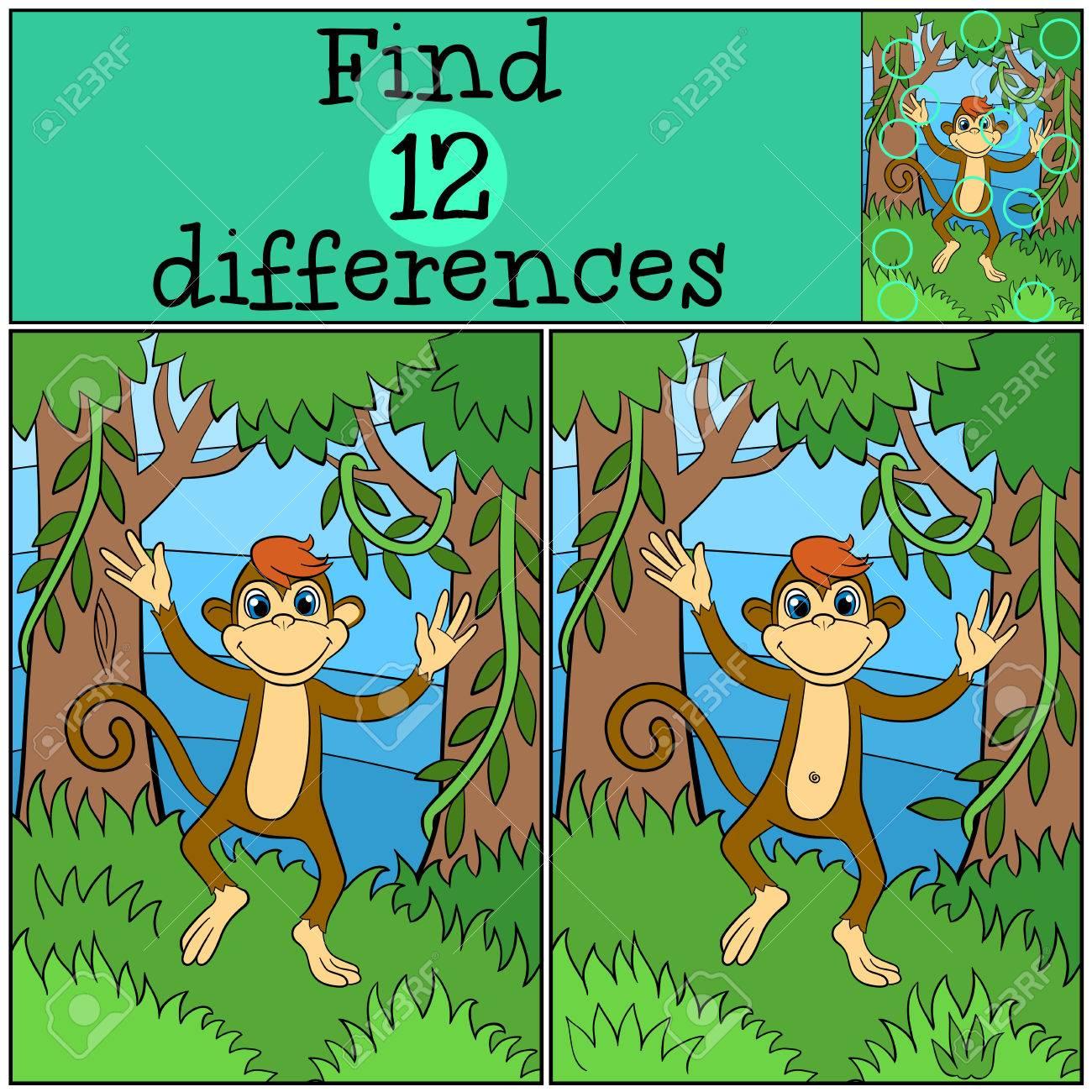 juegos infantiles encuentra las diferencias pequeas carreras mono lindo y sonrisas en el bosque