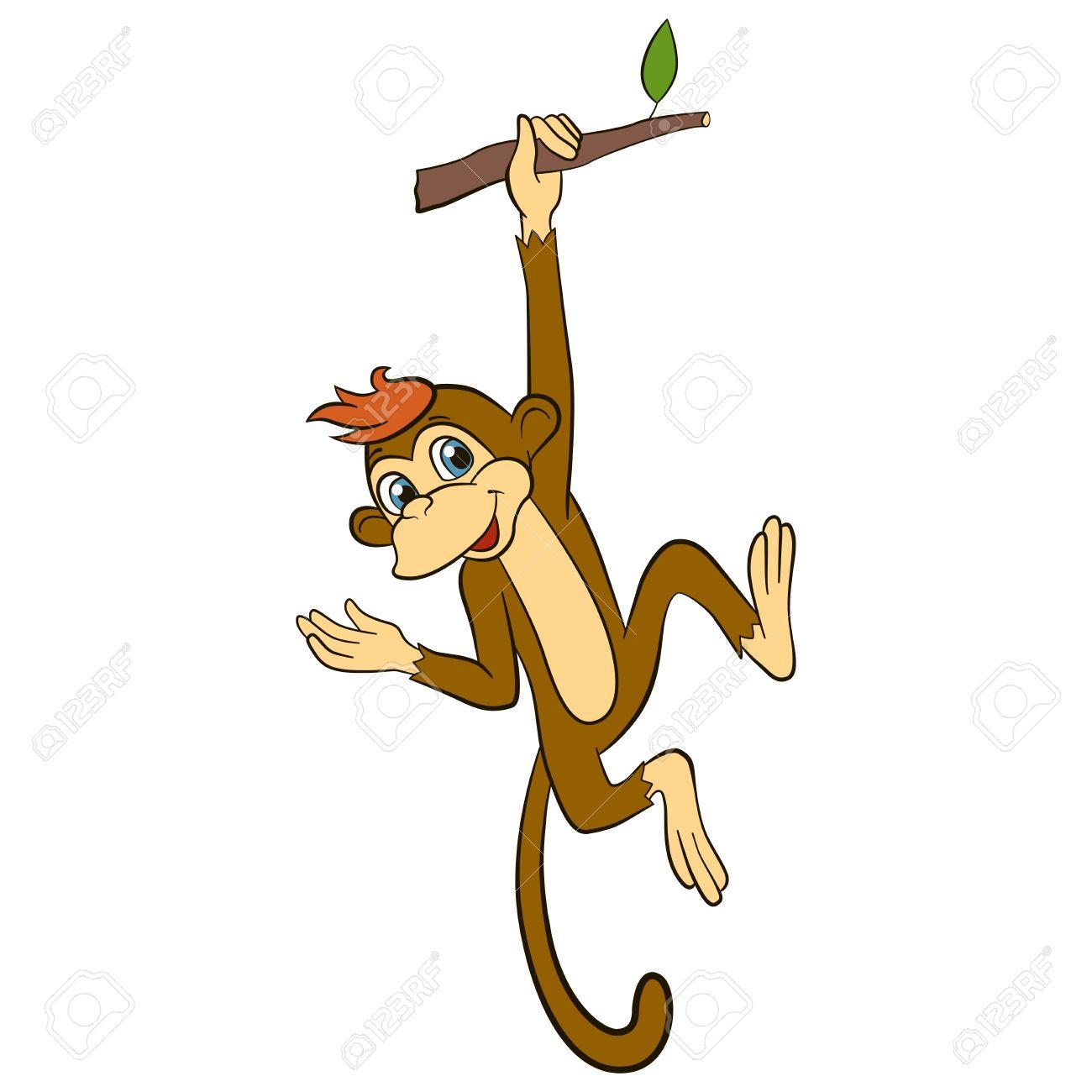 Cartoon Wils Tiere Für Kinder. Kleine Niedliche Affe Hängt An Der ...
