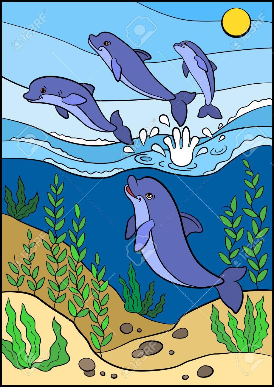 Malvorlagen. Marine-wilde Tiere. Nette Delphine Springt Aus Dem ...