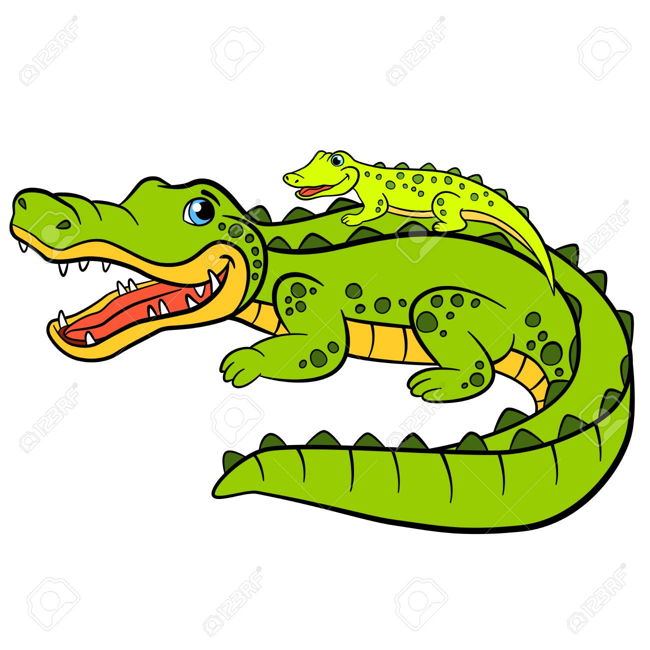 Cartoon Animals For Kids Mother Alligator With Her Little Cute