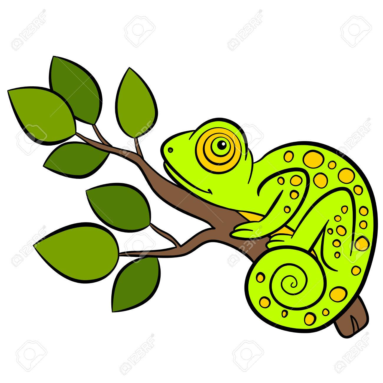cartoon animals for kids little cute green chameleon sits on