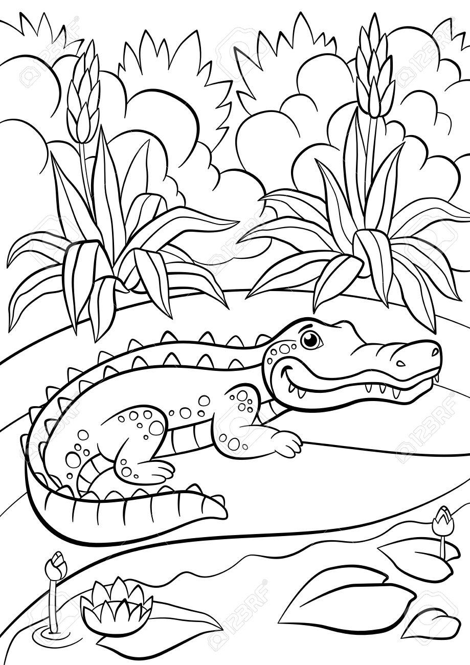 Malvorlagen. Tiere. Kleine Nette Alligator Sitzt In Der Nähe Des ...