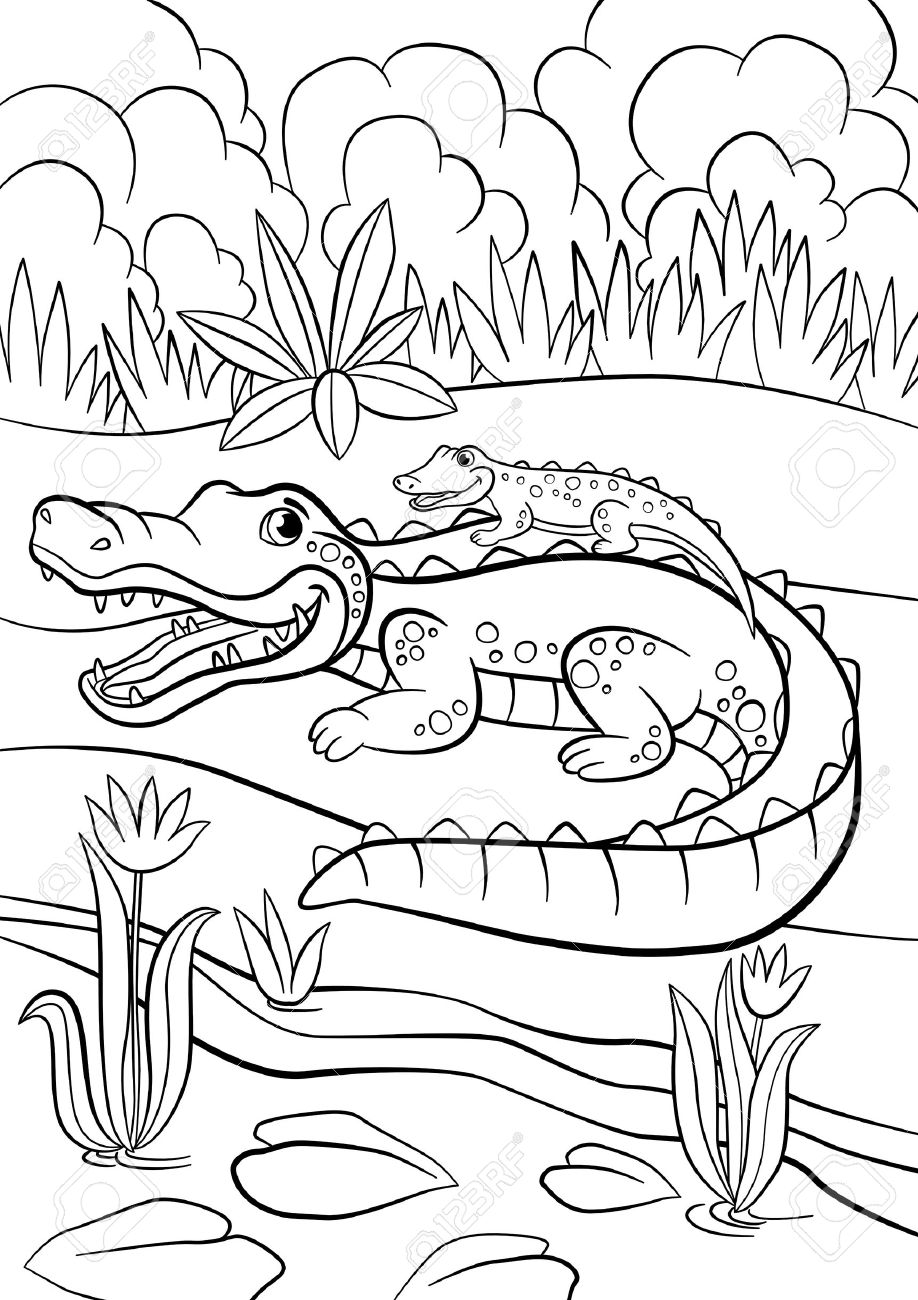 coloring pages animals mother alligator with her little cute
