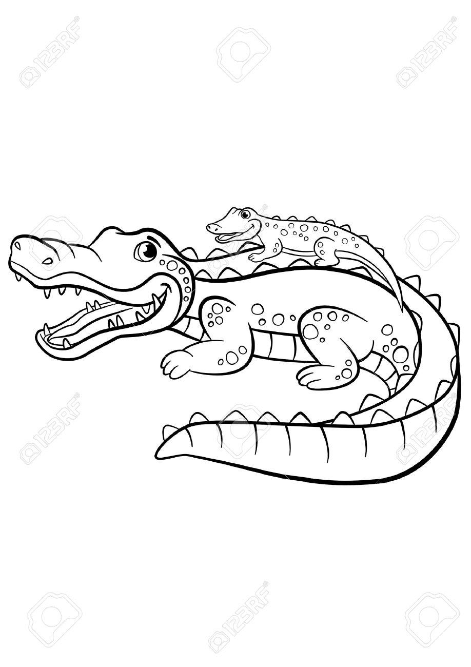 Malvorlagen. Tiere. Mutter Alligator Mit Ihrem Kleinen Niedlichen ...
