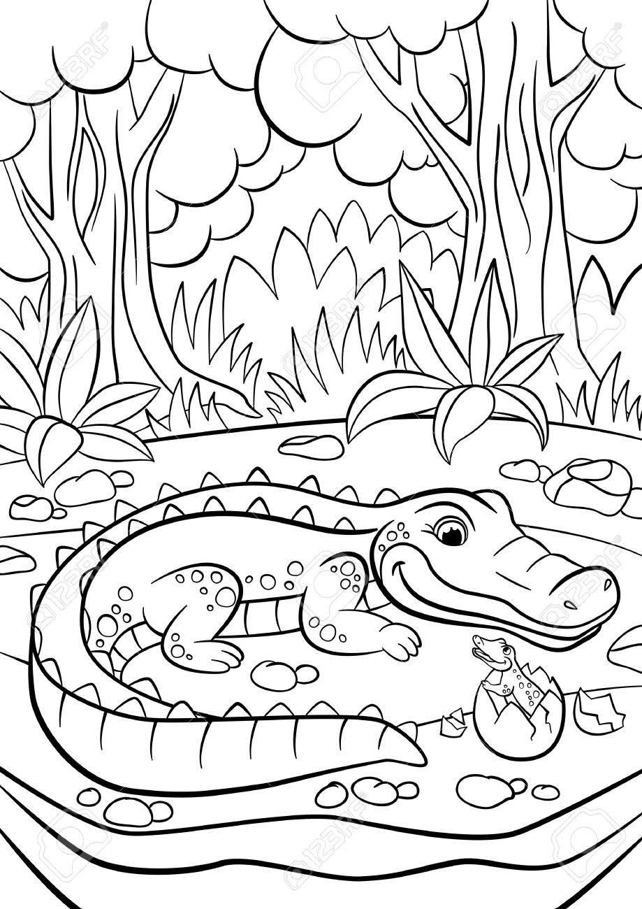 Coloring pages animals mother alligator looks at her little cute baby alligator in the