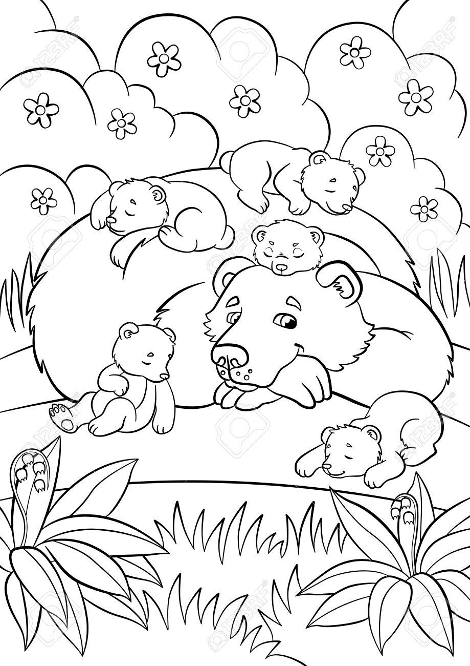 Malvorlagen. Wilde Tiere. Mit Freundlichen Bär Schaut Kleinen ...