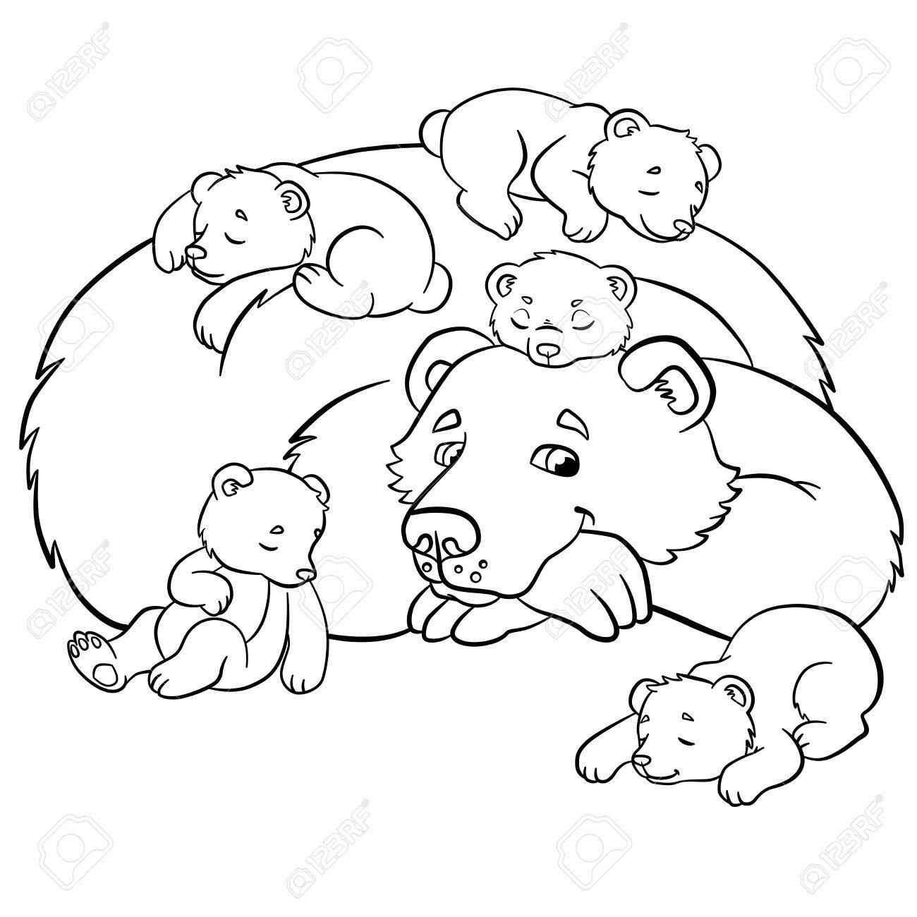Malvorlagen Wilde Tiere Mit Freundlichen Bär Schaut Kleinen