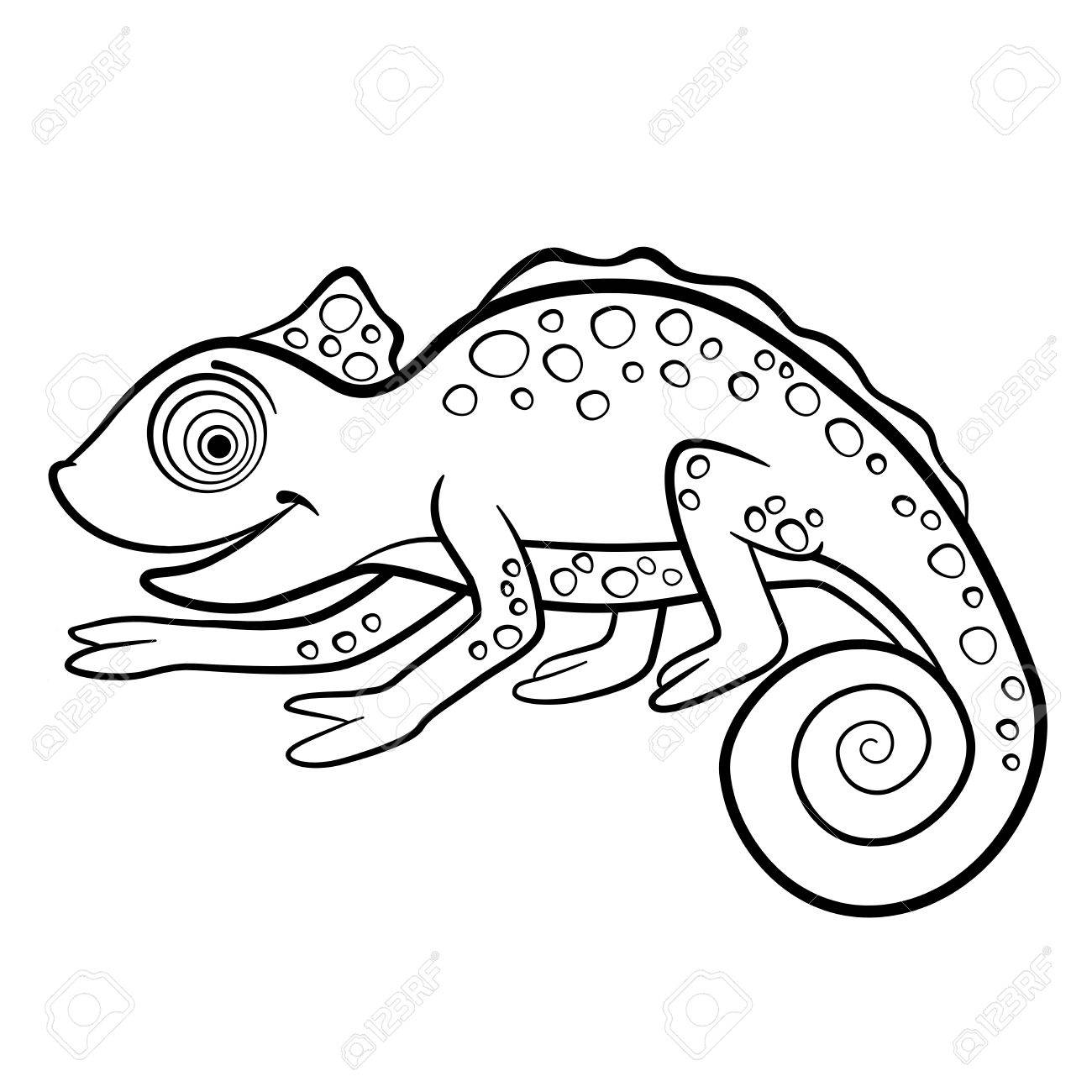 Coloring Pages. Wild Animals. Little Cute Chameleon Smiles. Royalty ...