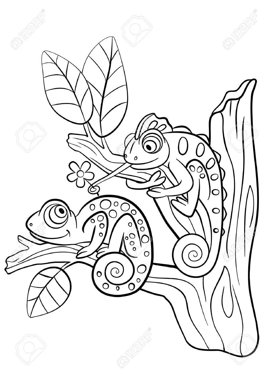 Coloring pictures wild animals - Coloring Pages Wild Animals Two Little Cute Chameleon Sits On The Tree Branch
