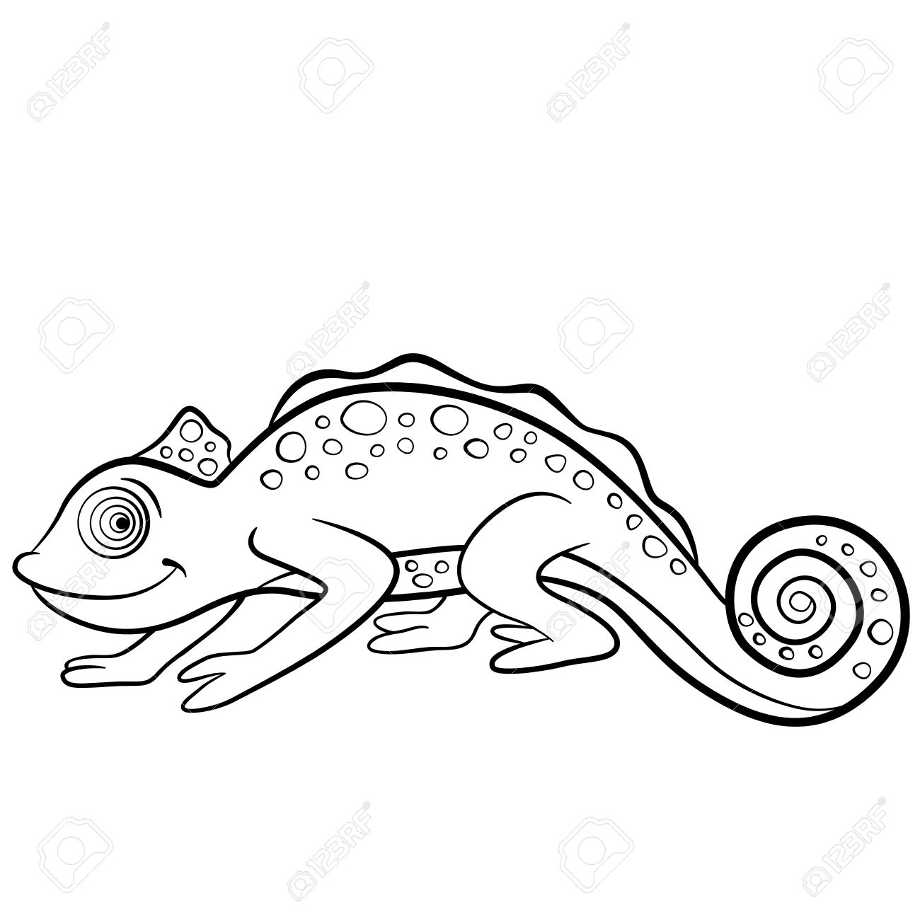 Coloring Pages Wild Animals Little Cute Chameleon Smiles Royalty