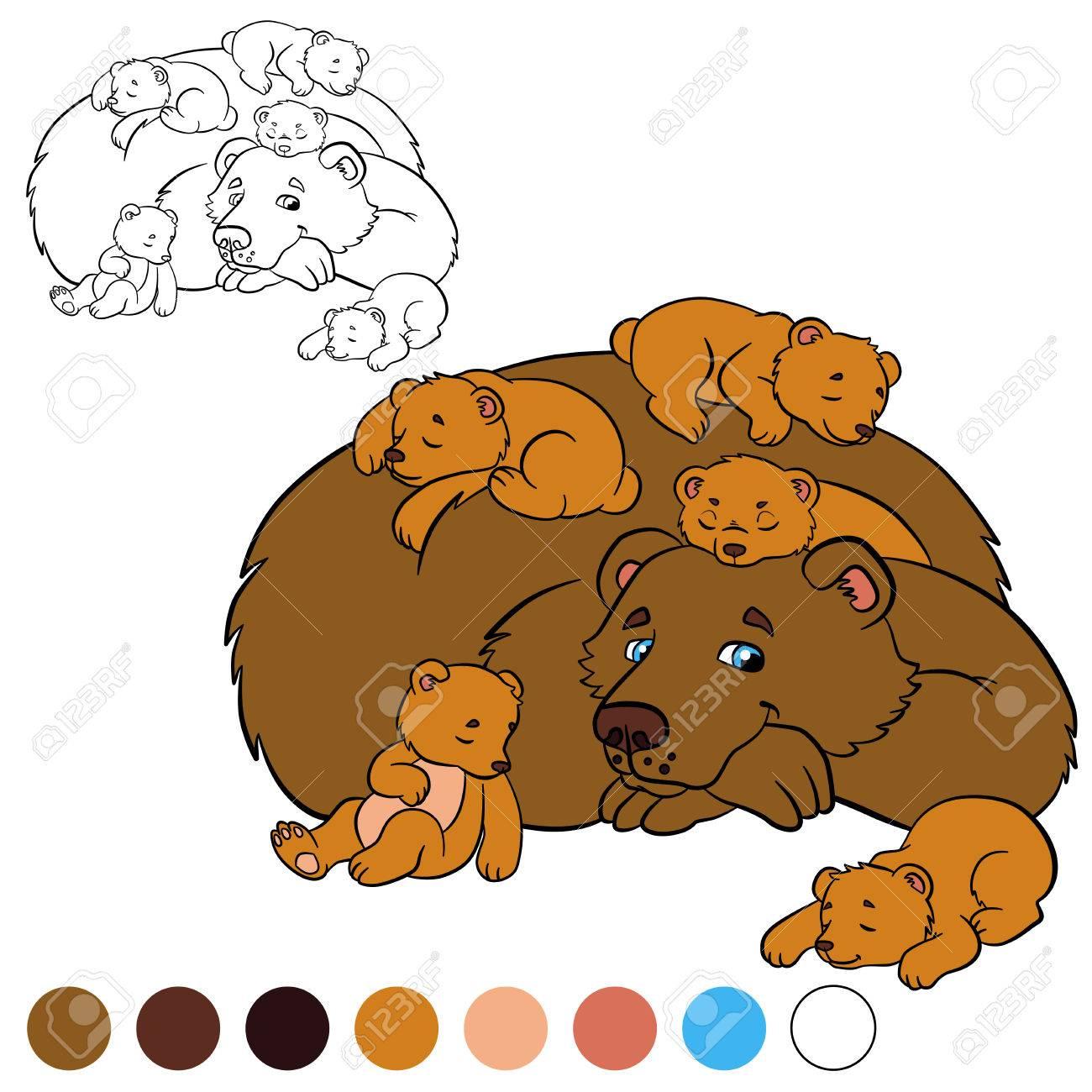 Dibujo Para Colorear Color Me Oso Oso Del Papá Con Sus Pequeños Osos Lindos Del Bebé