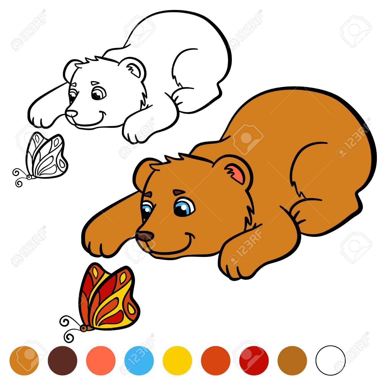 Malvorlage. Color Me: Bär. Kleine Süße Baby Bär Schaut Auf Den ...