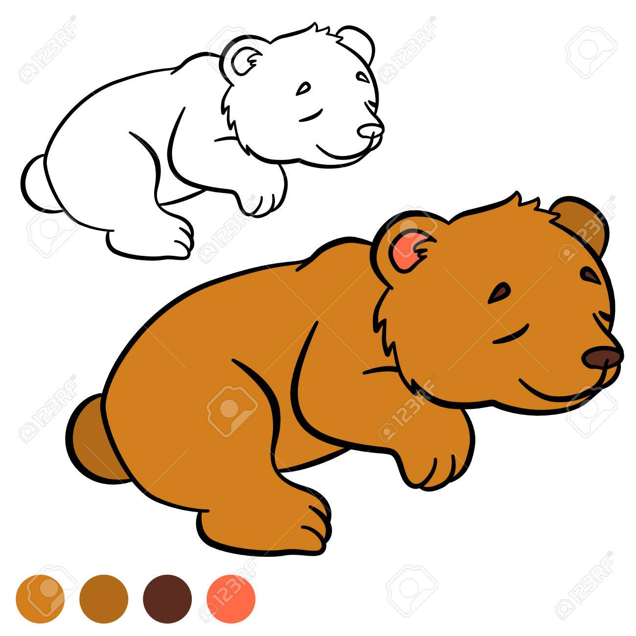 Dibujo Para Colorear. Color Me: Oso. Pequeño Oso Lindo Bebé Duerme ...