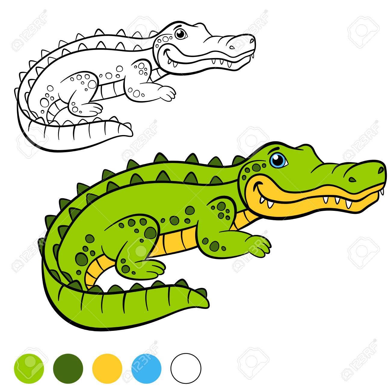 Dibujo Para Colorear Color Me Cocodrilo Pequeños Lindo Sonrisas Alligator Visto