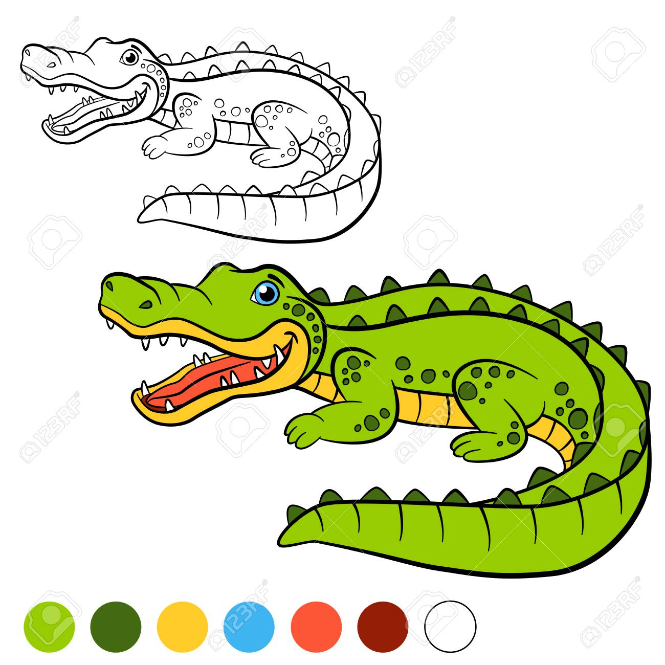 Coloring Page. Color Me: Alligator. Little Cute Spotted Alligator ...