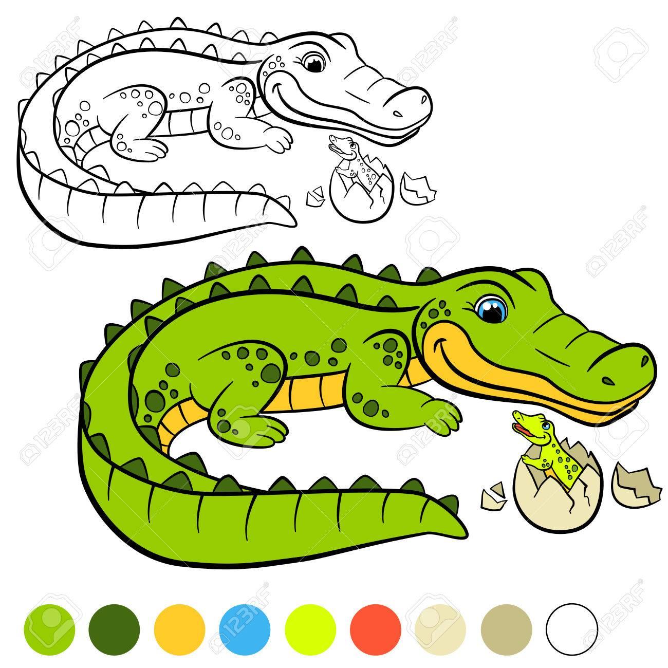 Dibujo Para Colorear Color Me Cocodrilo Cocodrilo Madre Con Su Pequeño Cocodrilo Lindo Del Bebé En El Huevo